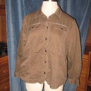 Brown Crochet Crisscross 4 Pocket Button Jacket